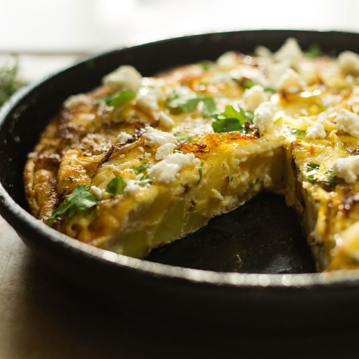 Cave Aged Goats Cheese, Potato and Onion Frittata