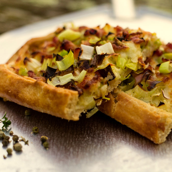 Leek, Cave Aged Cheddar and Green Peppercorn Tart
